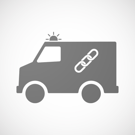 hyperlink: Illustration of an isolated ambulance with a chain