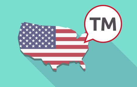 trademark: USA map with a comic balloon with    the text TM