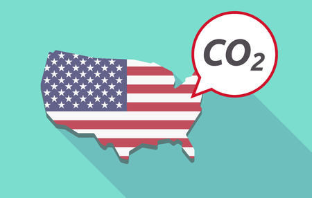 USA map with a comic balloon with    the text CO2