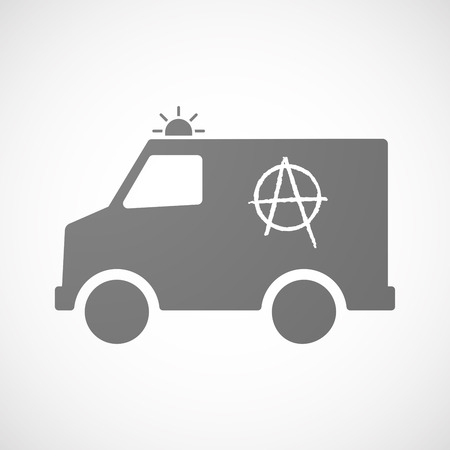 riot: Illustration of an isolated ambulance with an anarchy sign