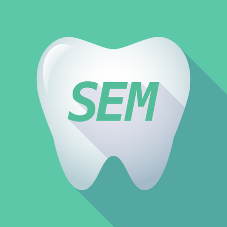 sem: Illustration of a long shadow  tooth with    the text SEM