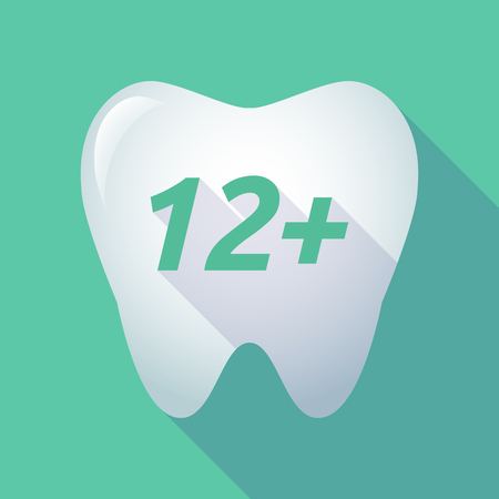 number twelve: Illustration of a long shadow  tooth with    the text 12+