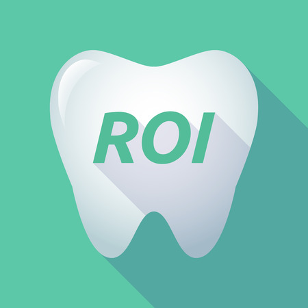 Illustration of a long shadow  tooth with    the return of investment acronym ROI Illustration