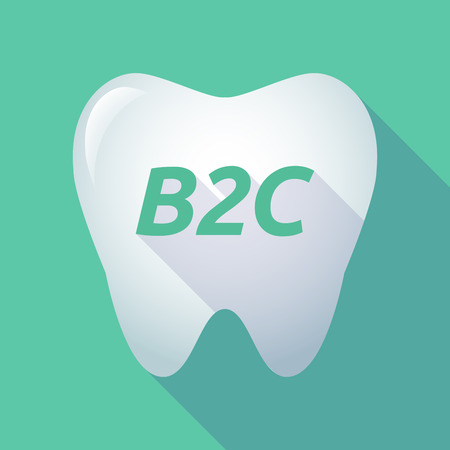 Illustration of a long shadow  tooth with    the text B2C