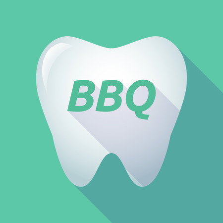 Illustration of a long shadow  tooth with    the text BBQ