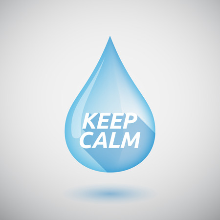 calm water: Illustration of a long shadow  water drop with    the text KEEP CALM Illustration