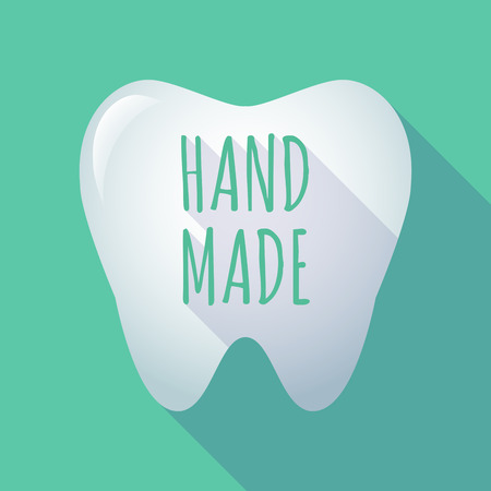do it yourself: Illustration of a long shadow  tooth with    the text HAND MADE