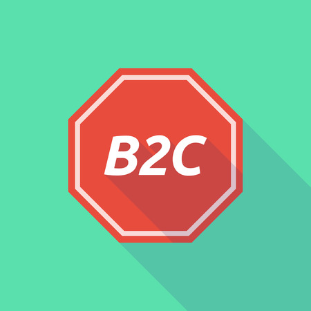 b2c: Illustration of a long shadow stop signal with    the text B2C