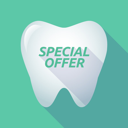 Illustration of a long shadow tooth with the text SPECIAL OFFER