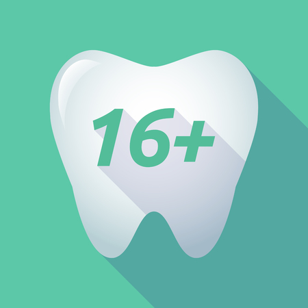 16: Illustration of a long shadow  tooth with    the text 16+