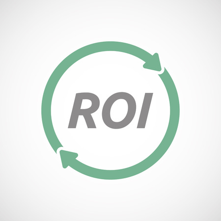 Illustration of an isolated recycle or reuse sign with    the return of investment acronym ROI