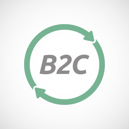 b2c: Illustration of an isolated recycle or reuse sign with    the text B2C