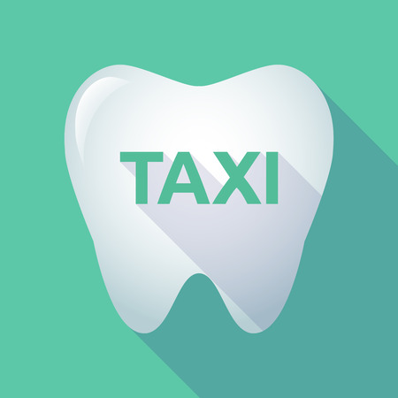 Illustration of a long shadow tooth with the text TAXI