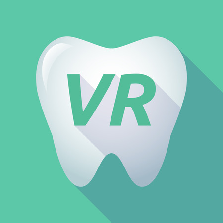 Illustration of a long shadow  tooth with    the virtual reality acronym VR