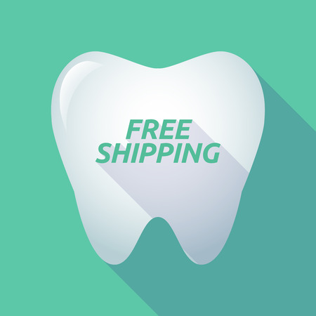 Illustration of a long shadow tooth with the text FREE SHIPPING