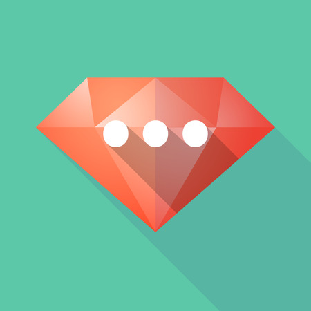 ellipsis: Illustration of a long shadow diamond with  an ellipsis orthographic sign