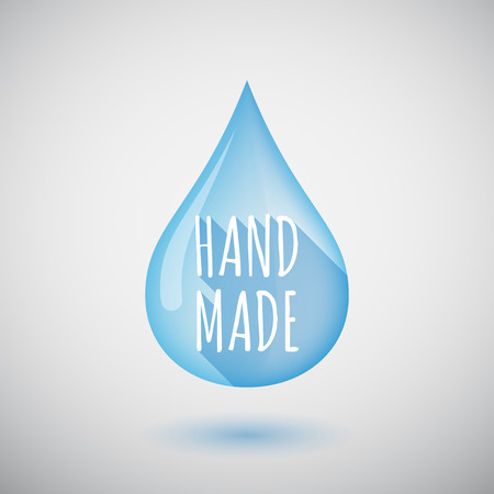 do it yourself: Illustration of a long shadow  water drop with    the text HAND MADE