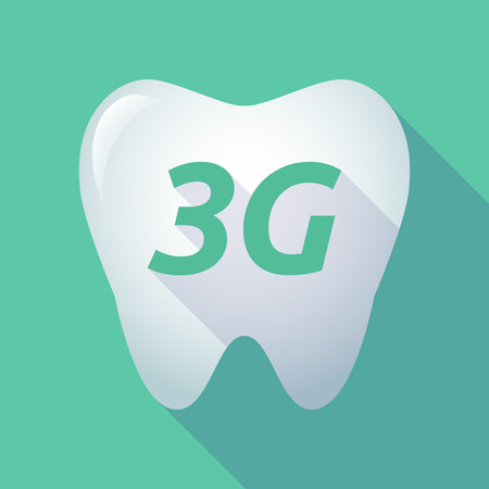 3g: Illustration of a long shadow  tooth with    the text 3G