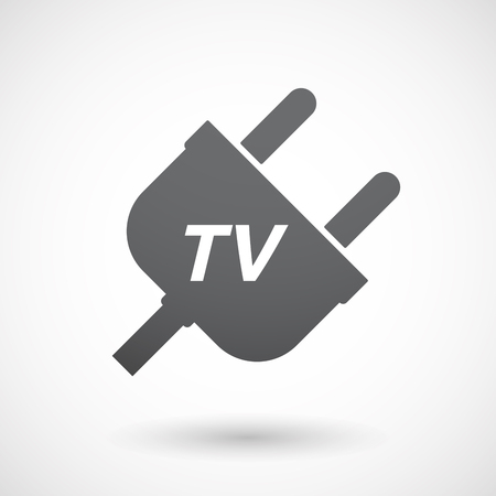 Illustration of an isolated plug with    the text TV Illustration