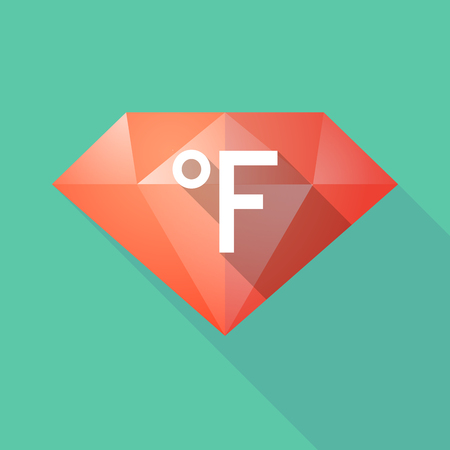 Illustration of a long shadow diamond with  a farenheith degrees sign Illustration
