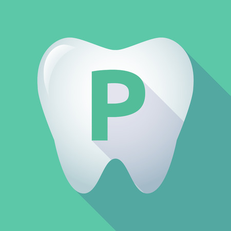 valet: Illustration of a long shadow  tooth with    the letter P Illustration