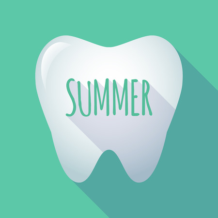Illustration of a long shadow tooth with the text SUMMER