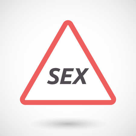 sex traffic: Illustration of an isolated warning signal with    the text SEX