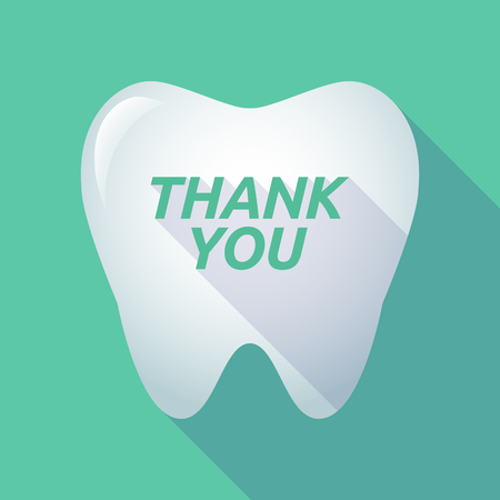 Illustration of a long shadow  tooth with    the text THANK YOU 版權商用圖片 - 71258140