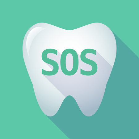 Illustration of a long shadow tooth with the text SOS