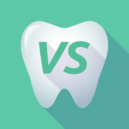 Illustration of a long shadow  tooth with    the text VS