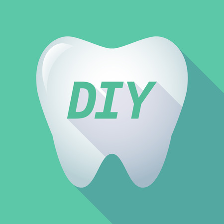 Illustration of a long shadow  tooth with    the text DIY 向量圖像