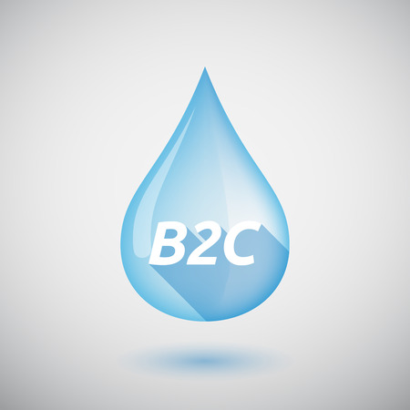 b2c: Illustration of a long shadow  water drop with    the text B2C