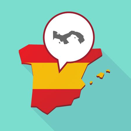 Ilustración de un mapa de sombra largo de España, su bandera y un globo cómico con el mapa de Panamá