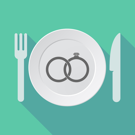 bonded: Illustration of a long shadow tableware with  two bonded wedding rings