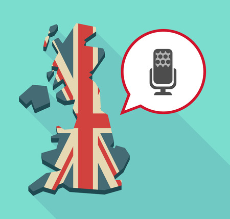 Illustration of a long shadow map of the United Kingdom, its flag and a comic balloon with  a microphone sign
