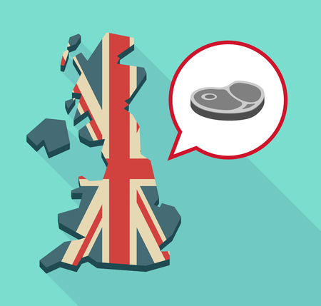 Illustration of a long shadow map of the United Kingdom, its flag and a comic balloon with  a steak icon Ilustrace