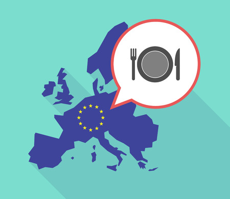 Illustration of a long shadow European Union map, its flag and a comic balloon with  a dish, knife and a fork icon Illustration