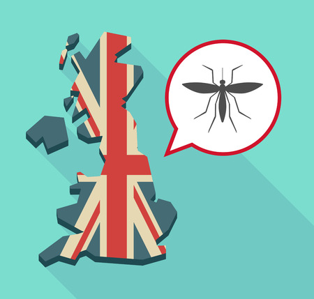 Illustration of a long shadow map of the United Kingdom, its flag and a comic balloon with  a mosquito