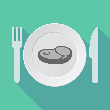 Illustration of a long shadow tableware with  a steak icon