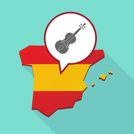 madrid spain: Illustration of a long shadow map of Spain, its flag and a comic balloon with  a violin Illustration