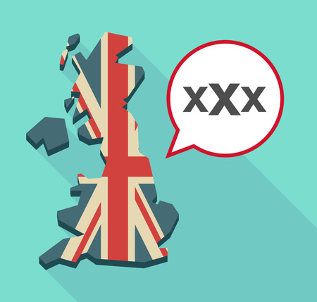 Illustration of a long shadow map of the United Kingdom, its flag and a comic balloon with  a XXX letter icon