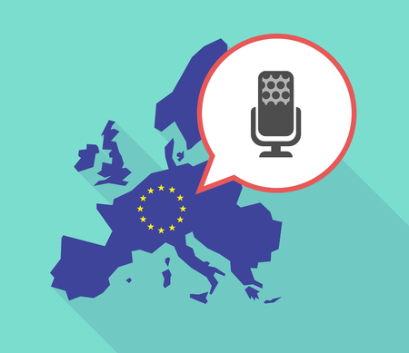 official record: Illustration of a long shadow European Union map, its flag and a comic balloon with  a microphone sign Illustration