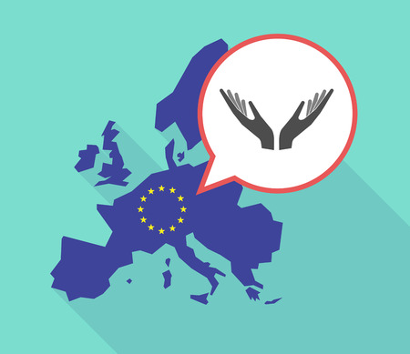 Illustration of a long shadow European Union map, its flag and a comic balloon with  two hands offering