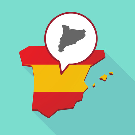 Illustration of a long shadow map of Spain, its flag and a comic balloon with  the map of Catalonia
