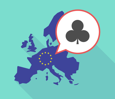 its: Illustration of a long shadow European Union map, its flag and a comic balloon with  the  Club  poker playing card sign