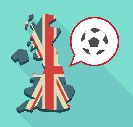 Illustration of a long shadow map of the United Kingdom, its flag and a comic balloon with  a soccer ball