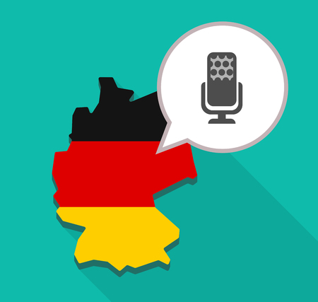 Illustration of a long shadow map of Germany, its flag and a comic balloon with  a microphone sign Illustration