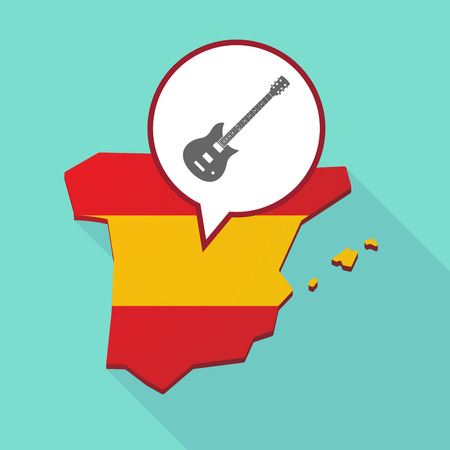 Illustration of a long shadow map of Spain, its flag and a comic balloon with  an electric guitar Illustration