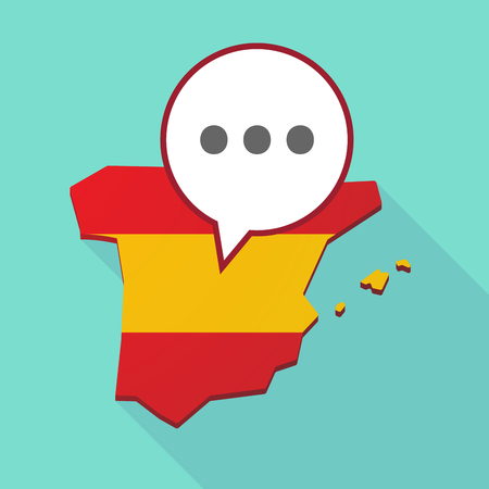 Illustration of a long shadow map of Spain, its flag and a comic balloon with  an ellipsis orthographic sign Illustration