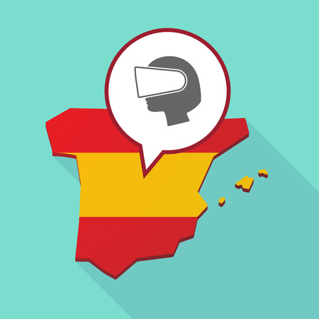 Illustration of a long shadow map of Spain, its flag and a comic balloon with  a female head wearing a virtual reality headset Illustration